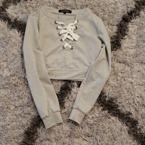 Long sleeve lace up crop top